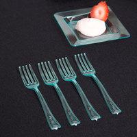 Fineline Tiny Temptations 6500-GRN 3 7/8 inch Tiny Tines Green Plastic Tasting Fork - 48/Pack