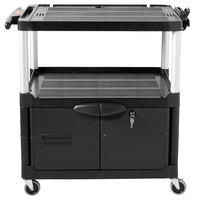 Rubbermaid FG9T2900BLA Black MediaMaster 32 inch AV Cart with Three Shelves, Cabinet, and 3 inch Casters