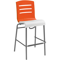 Grosfillex US510019 / US051019 Domino Orange / White Indoor Stacking Resin Barstool