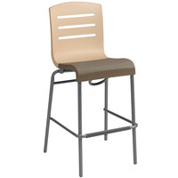 Grosfillex Domino Indoor Stacking Resin Barstool with Beige Back and Taupe Seat