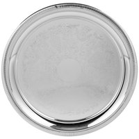 Vollrath 82100 Elegant Reflections 12 3/8 inch Stainless Steel Round Serving Tray
