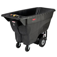 Rubbermaid FG102100BLA Black 1.0 Cubic Yard Motorized Tilt Truck (500 lb.)