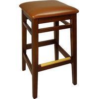 BFM Seating LWB680MHLBV Trevor Mahogany Wood Barstool with 2 inch Light Brown Vinyl Seat