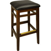 BFM Seating LWB680WABLV Trevor Walnut Wood Barstool with 2 inch Black Vinyl Seat