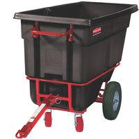 Rubbermaid FG130641BLA Black 0.5 Cubic Yard Towable Trainable Tilt Truck / Trash Cart (1400 lb.)
