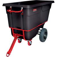 Rubbermaid FG131641BLA Black 1.0 Cubic Yard Towable Trainable Tilt Truck / Trash Cart (2100 lb.)