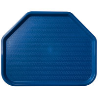 Carlisle CT1713TR14 Customizable Cafe 14 inch x 18 inch Blue Trapezoid Plastic Fast Food Tray - 12/Case