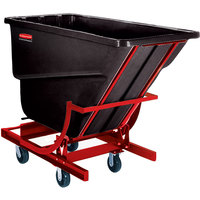Rubbermaid FG107443BLA Black 2.5 Cubic Yard Self Dumping Hopper with 6 inch Casters (1000 lb.)