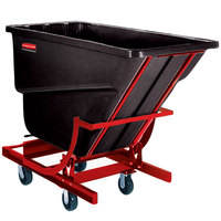 Rubbermaid FG106443BLA Black 1.5 Cubic Yard Self Dumping Hopper with 6 inch Casters (1000 lb.)