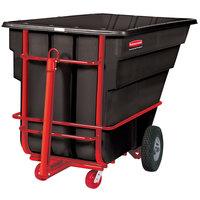 Rubbermaid FG102641BLA Black 1.5 Cubic Yard Towable Trainable Tilt Truck / Trash Cart (2100 lb.)