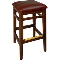 BFM Seating LWB680MHBUV Trevor Mahogany Wood Barstool with 2 inch Burgundy Vinyl Seat