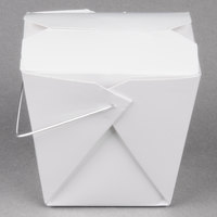 Fold-Pak 16WHWHITEM 16 oz. White Chinese / Asian Paper Take-Out Container with Wire Handle - 100/Pack