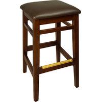 BFM Seating LWB680MHDBV Trevor Mahogany Wood Barstool with 2 inch Dark Brown Vinyl Seat