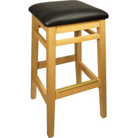 BFM Seating LWB680NTBLV Trevor Natural Wood Barstool with 2 inch Black Vinyl Seat