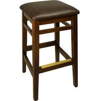 BFM Seating LWB680WADBV Trevor Walnut Wood Barstool with 2 inch Dark Brown Vinyl Seat