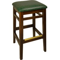 BFM Seating LWB680WAGNV Trevor Walnut Wood Barstool with 2 inch Green Vinyl Seat