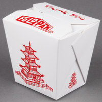 Fold-Pak 26MWPAGODM 26 oz. Pagoda Chinese / Asian Microwavable Paper Take-Out Container - 50 / Pack