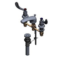 T&S B-2991-PWH4 Easy Install Faucet with 8 inch Centers, 5 inch Spout, 4 inch Wrist Action Handles, and Pop Up Drain Assembly