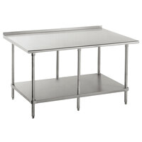 16 Gauge Advance Tabco FAG-3010 30 inch x 120 inch Stainless Steel Work Table with 1 1/2 inch Backsplash and Galvanized Undershelf