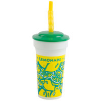 16 oz. Tall Plastic Souvenir Cold Cup with Straw and Lid   - 250/Case