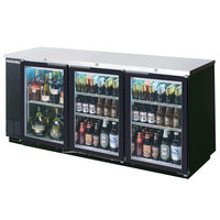 Beverage-Air BB78GF-1-B-LED 78 inch Black Food Rated Glass Door Back Bar Cooler with Three Doors