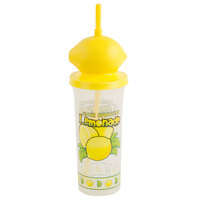 32 oz. Tall Plastic Lemonade Cold Cup with Straw and Lemon Top Lid - 100/Case
