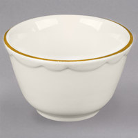 7.25 oz. Ivory (American White) Scalloped Edge China Bouillon Cup with Gold Band - 36/Case
