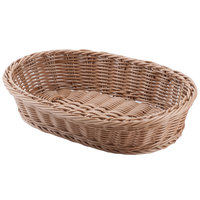 Carlisle 655125 Brown 12 inch x 8 inch Woven Oval Basket - 6/Case