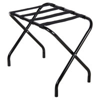 CSL 155BL-BL-1 Metal Folding Flat Top Luggage Rack with Black Finish and Black Straps