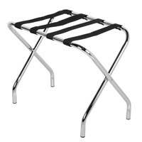 CSL 155C-BL Metal Folding Flat Top Luggage Rack with Chrome Finish and Black Straps - Bulk