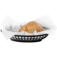 Carlisle 033303 9 1/4 inch x 6 inch Black Oval Slotted Plastic Food Basket - 36/Case
