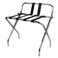 CSL 1055C-BL-1 Metal Folding High Back Luggage Rack with Chrome Finish and Black Straps