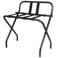 CSL 1055B-BL-BL-1 Metal Folding Luxury Luggage Rack with Black Finish and Black Straps