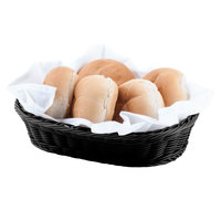 Carlisle 655103 Black 12 inch x 8 inch Woven Oval Basket - 6/Case