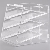 Carlisle SPD300KD07 18 inch x 14 inch x 17 1/2 inch Unassembled Three-Tray Acrylic Bakery Display Case with Back Door