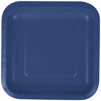 Creative Converting 453278 7 inch Navy Blue Square Paper Plate - 180 / Case