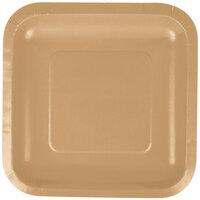 Creative Converting 453276 7 inch Glittering Gold Square Paper Plate - 180 / Case
