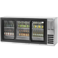 Beverage Air BB78GF-1-S-LED 78 inch Stainless Steel Food Rated Glass Door Back Bar Cooler with Three Doors