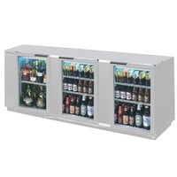 Beverage Air BB94GF-1-S-LED 94 inch Stainless Steel Food Rated Glass Door Back Bar Cooler with Three Doors - 39.7 Cu. Ft.