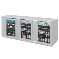 Beverage Air BB94GF-1-S-LED 94 inch Stainless Steel Food Rated Glass Door Back Bar Cooler with Three Doors