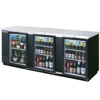 Beverage Air BB94GF-1-B-PT-LED 94 inch Black Food Rated Pass-Through Back Bar Cooler with Six Glass Doors