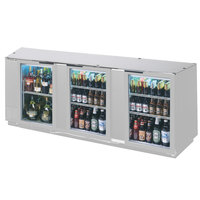 Beverage Air BB94GF-1-S-PT-LED 94 inch Stainless Steel Food Rated Pass-Through Back Bar Cooler with Six Glass Doors
