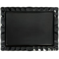 Carlisle 794803 24 1/2 inch x 18 1/2 inch Black Rectangular Large Scalloped Tray - 4/Case