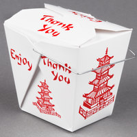 Fold-Pak 16WHPAGODM 16 oz. Pagoda Chinese / Asian Paper Take-Out Container with Wire Handle - 100/Pack