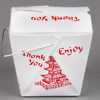 Fold-Pak 08WHPAGODM 8 oz. Pagoda Chinese / Asian Paper Take-Out Container with Wire Handle - 100/Pack