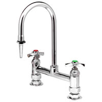 T&S BL-5715-02 Deck Mount Mixing Faucet with 8 inch Adjustable Centers, 13 9/16 inch Swing Gooseneck, Serrated Tip, and 4 Arm Handles