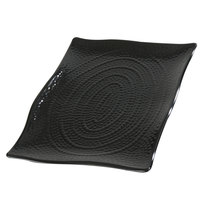 Carlisle 4452203 Terra 15 1/2 inch x 11 inch Black Rectangular Scalloped Textured Platter - 4/Case