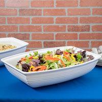 Tablecraft CW3190W 10.5 Qt. White Cast Aluminum Oblong Salad Bowl