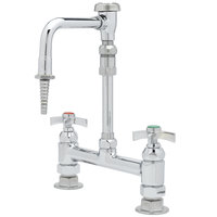 T&S BL-5715-09 Deck Mount Mixing Faucet with 8 inch Adjustable Centers, 11 15/16 inch Tall Nozzle, Serrated Tip, 4 Arm Handles, and Vacuum Breaker