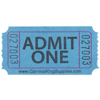 "Carnival King Blue 1-Part ""Admit One"" Tickets   - 2000/Roll"